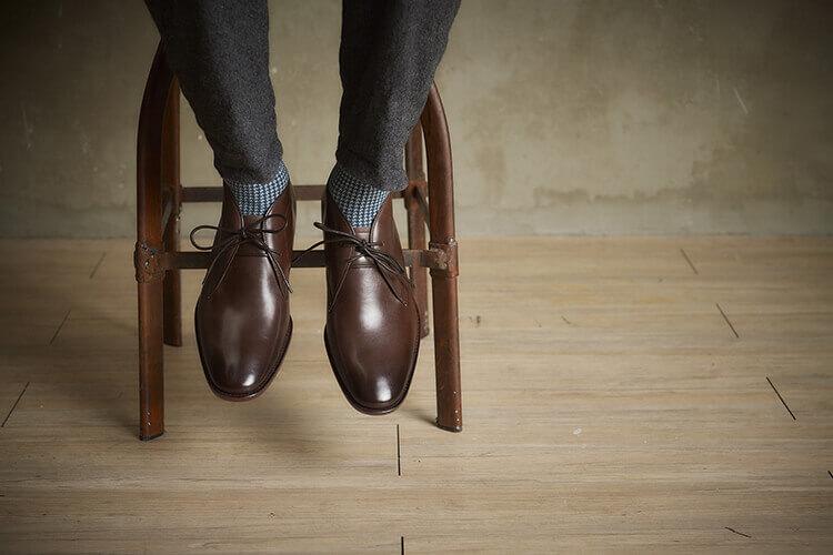 林果良品小牛皮皮底沙漠靴 渲染咖