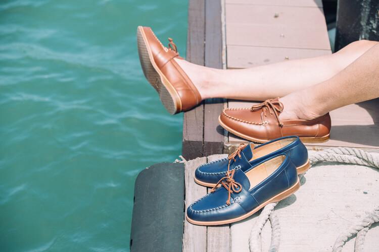 螺旋縫線紳士帆船鞋