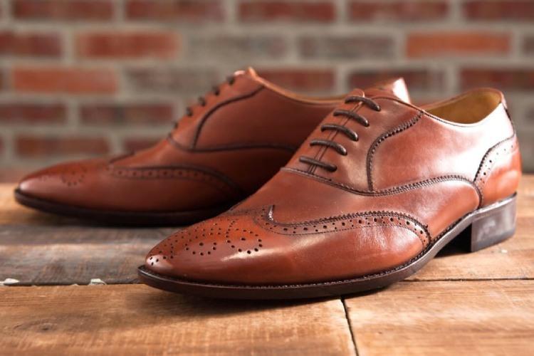 林果良品3/4雕花鋸齒翼紋牛津鞋-焦咖啡色