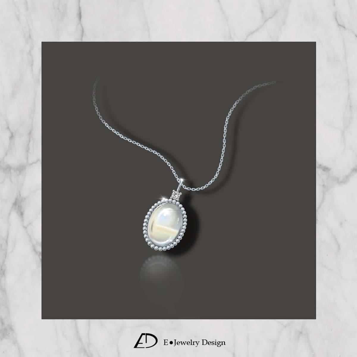 月光石表面會透出白色或淡藍色的閃光如月光,故稱「月光效應」。