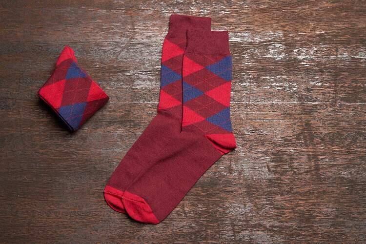 高階班推薦 紅色蘇格蘭菱格紋紳士襪