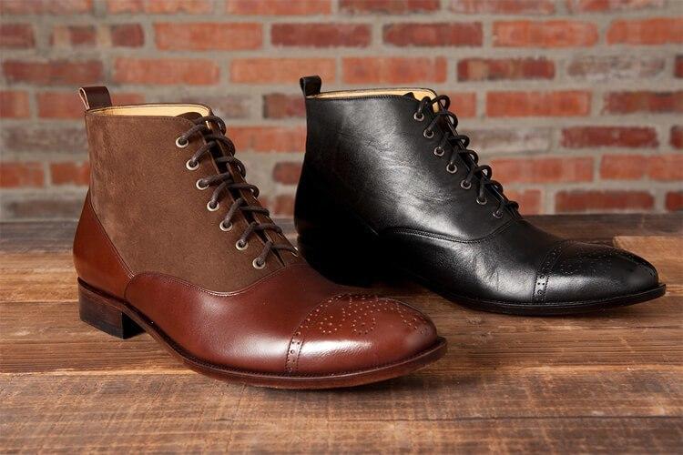 牛津靴的巴爾莫勒爾靴 黑色與拼接色