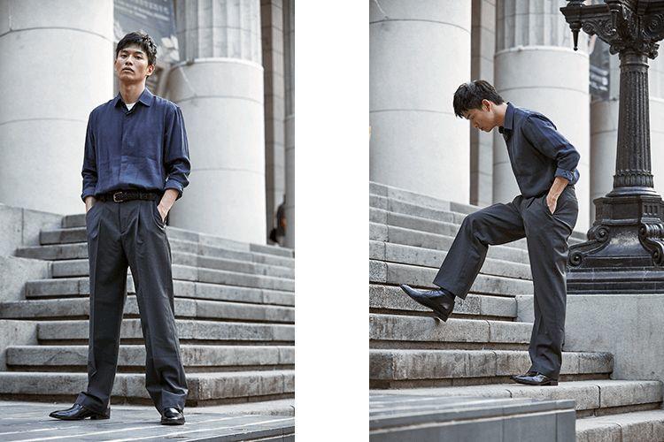合適的褲管長度展現出男靴靴型的特有線條