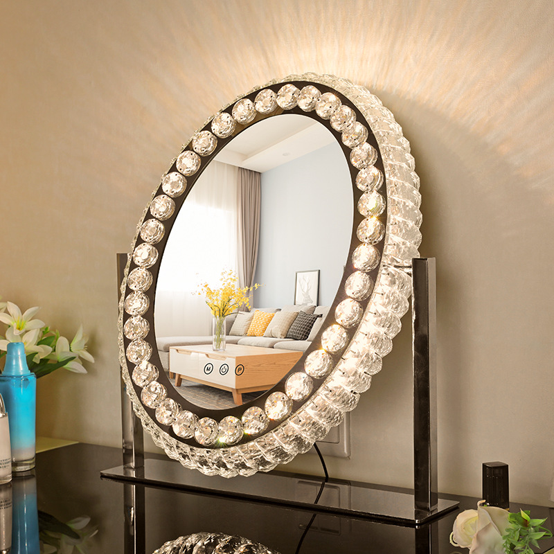 Marieke Luxury Led Crystal Vanity Mirror, Luxury Makeup Mirror With Lights