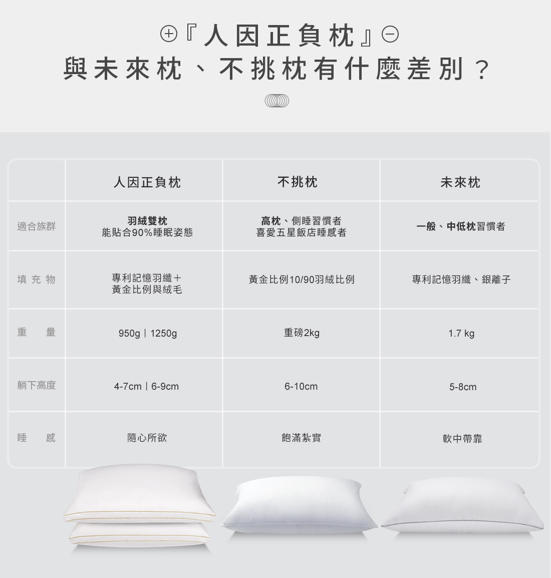 人因正負枕、未來枕、不挑枕,差異比較表