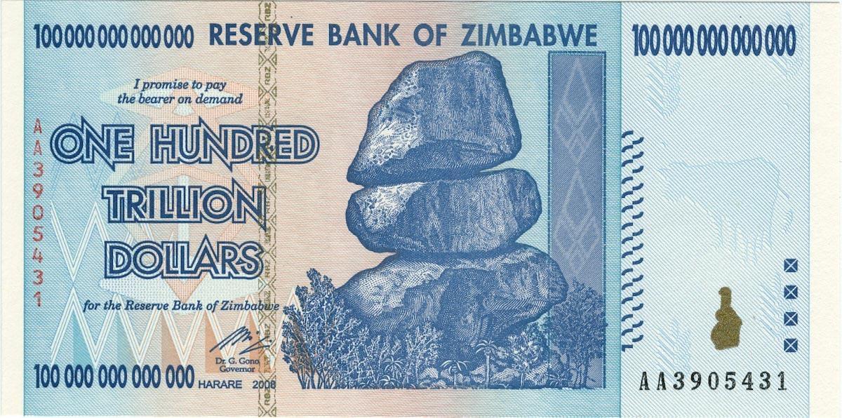 辛巴威 2000 年經歷惡性倒閉後,甚至在 2008 年印出面額高達100兆的鈔票