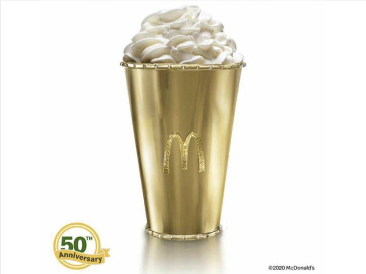 麥當勞推出價值超過30萬元的18K金奶昔杯,所得捐給麥當勞之家幫助弱勢