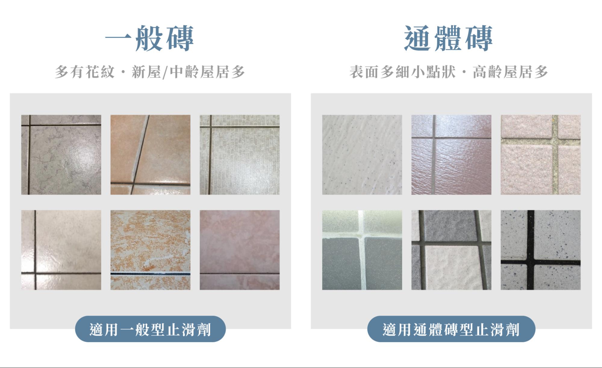 不同浴室止滑劑適用的磁磚不同