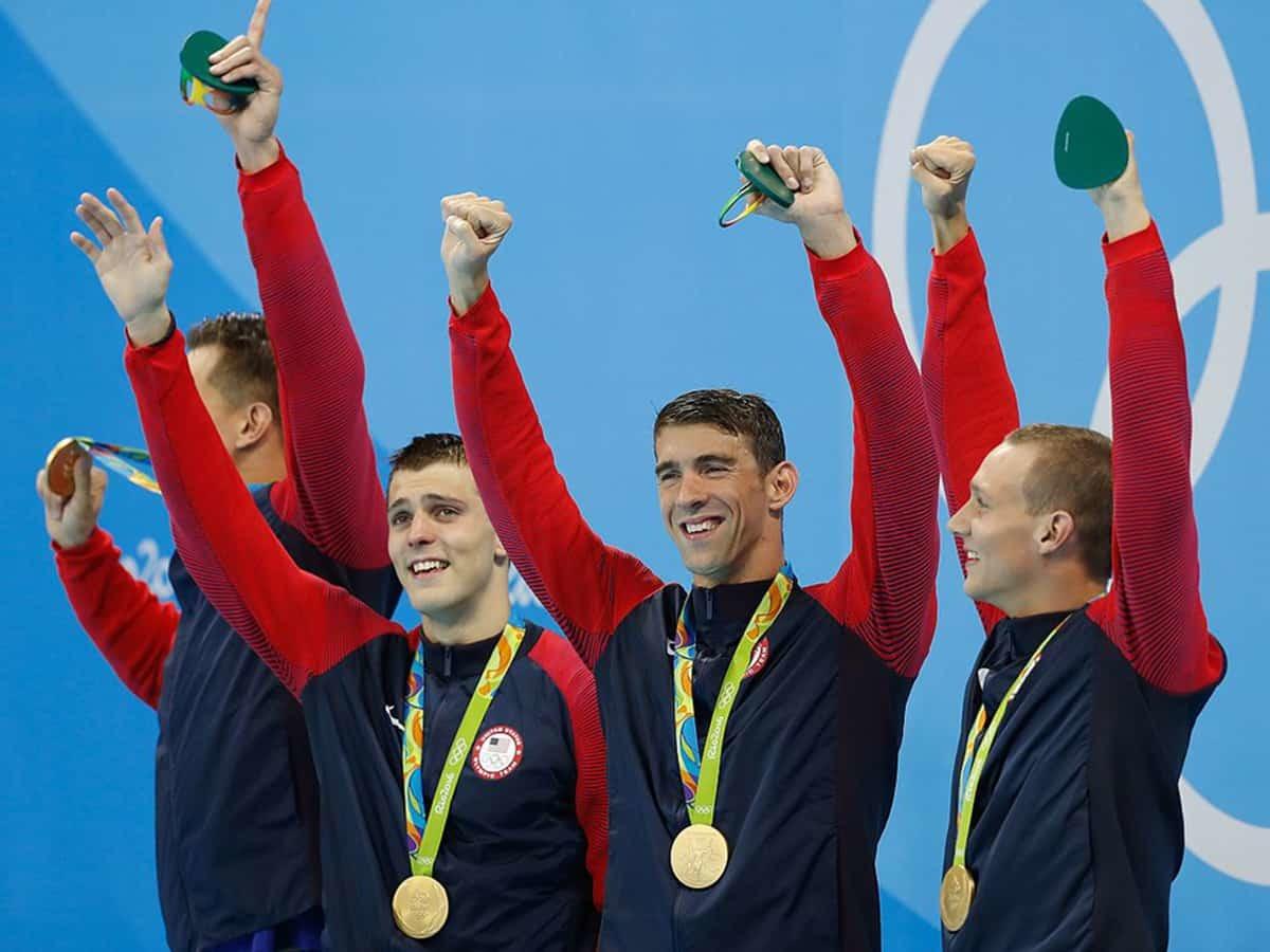 美國游泳健將費爾普斯(右二)擁有28面奧運金牌。