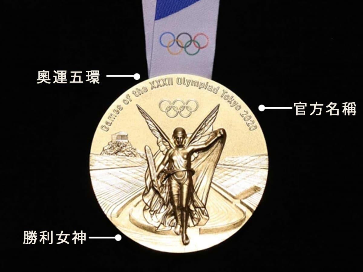 2021東京奧運金牌上,符合正面設計的要領。