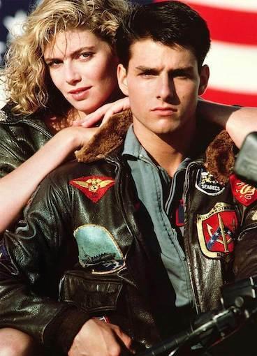 電影捍衛戰士(Top Gun)中湯姆‧克魯斯(Tom Cruise)穿著G-1飛行外套