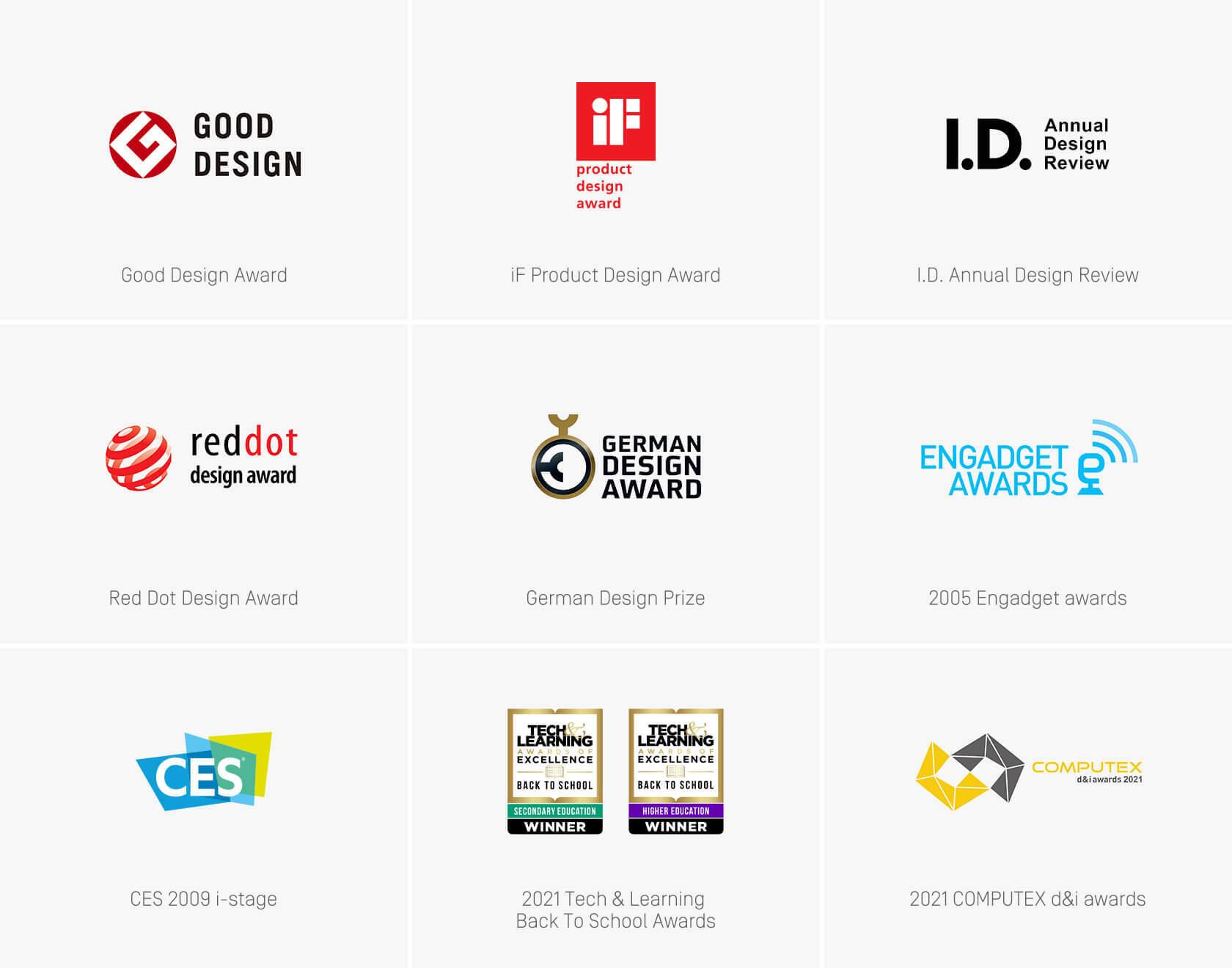 Good Design Award、iF Product Design Award、I.D. Annual Design Review、Red Dot Design Award、German Design Prize、2005 Engadget awards、CES 2009 i-stage、2021 Tech & Learning Back To School Awards、2021 COMPUTEX d&i awards