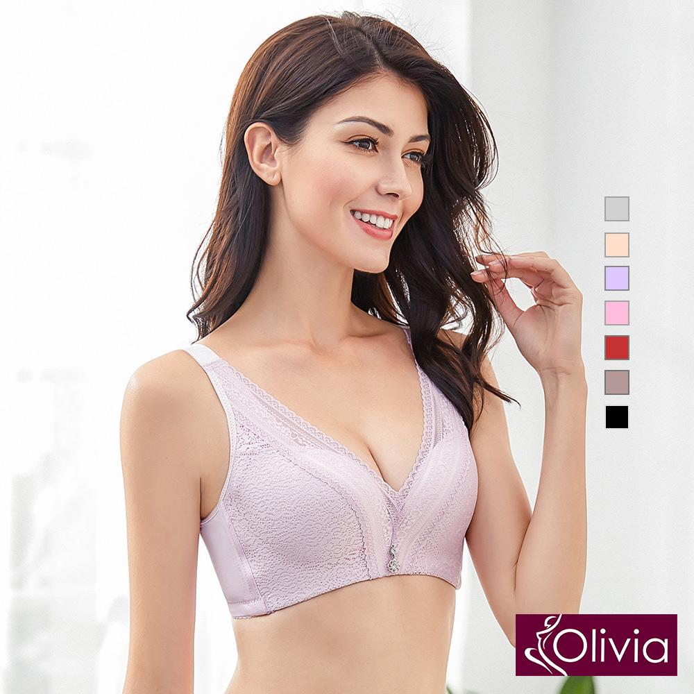 內衣 Olivia 無鋼圈3D立體深V綻放蕾絲內衣-粉色