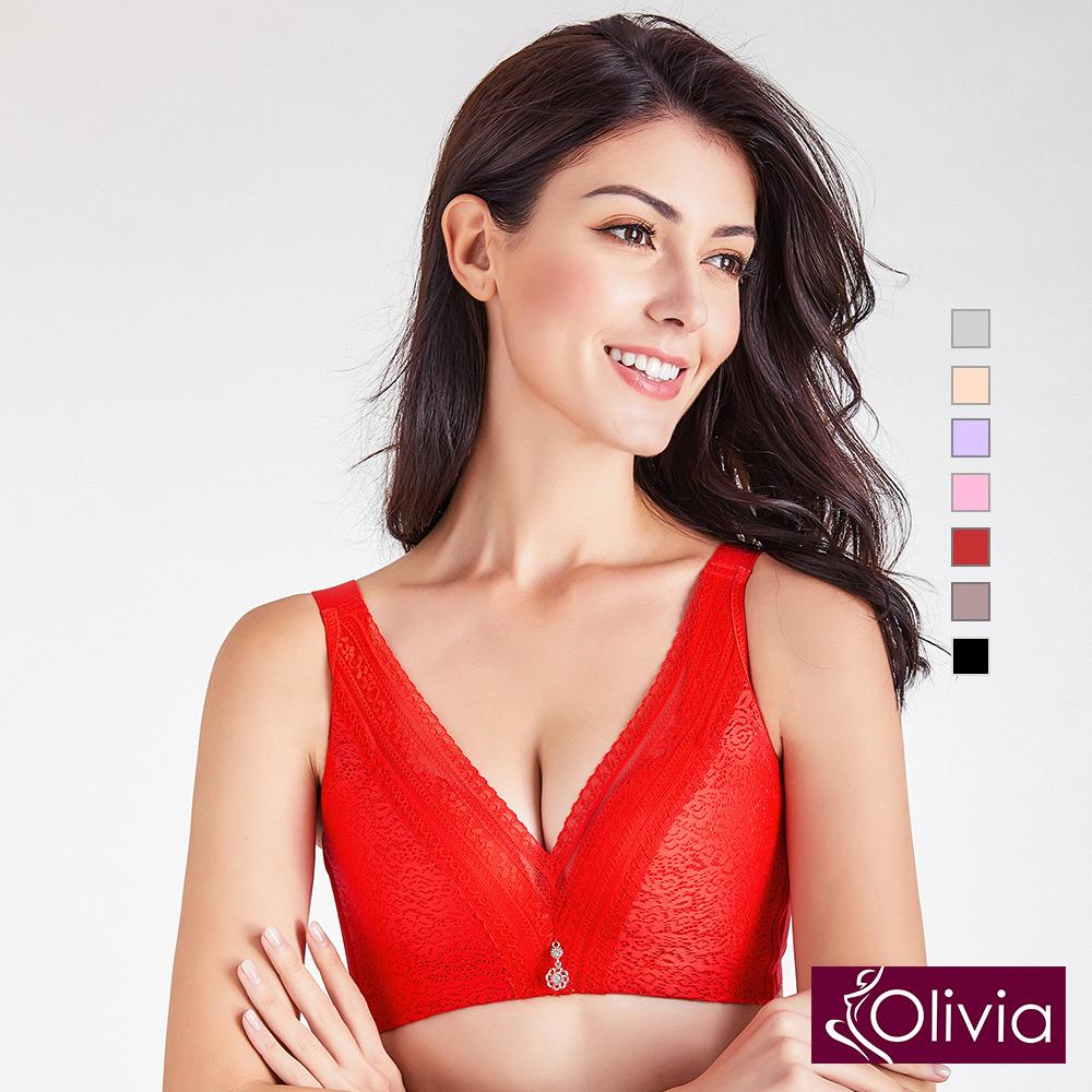 內衣 Olivia 無鋼圈3D立體深V綻放蕾絲內衣-紅色