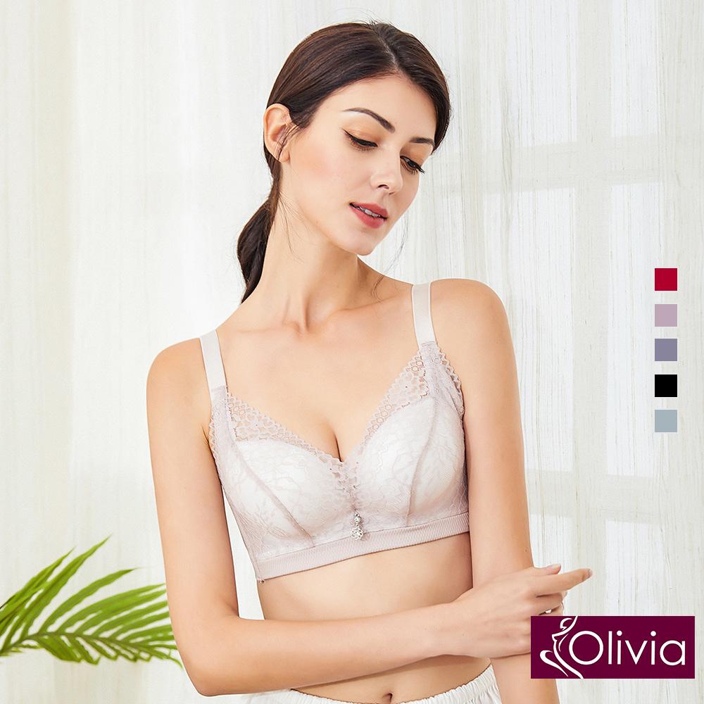 內衣 Olivia 無鋼圈3D立體唯美蕾絲無縫內衣-豆沙色