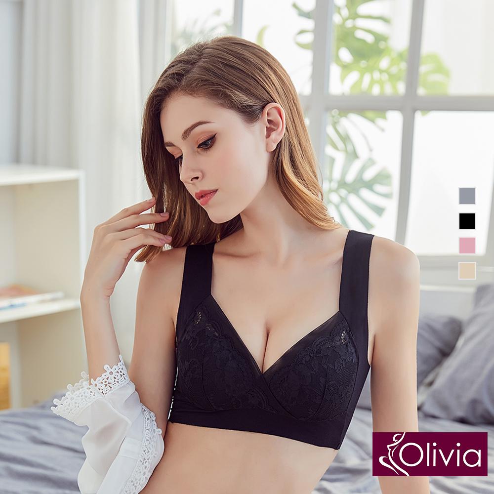內衣 Olivia 無鋼圈浪漫典雅蕾絲美背內衣-黑色
