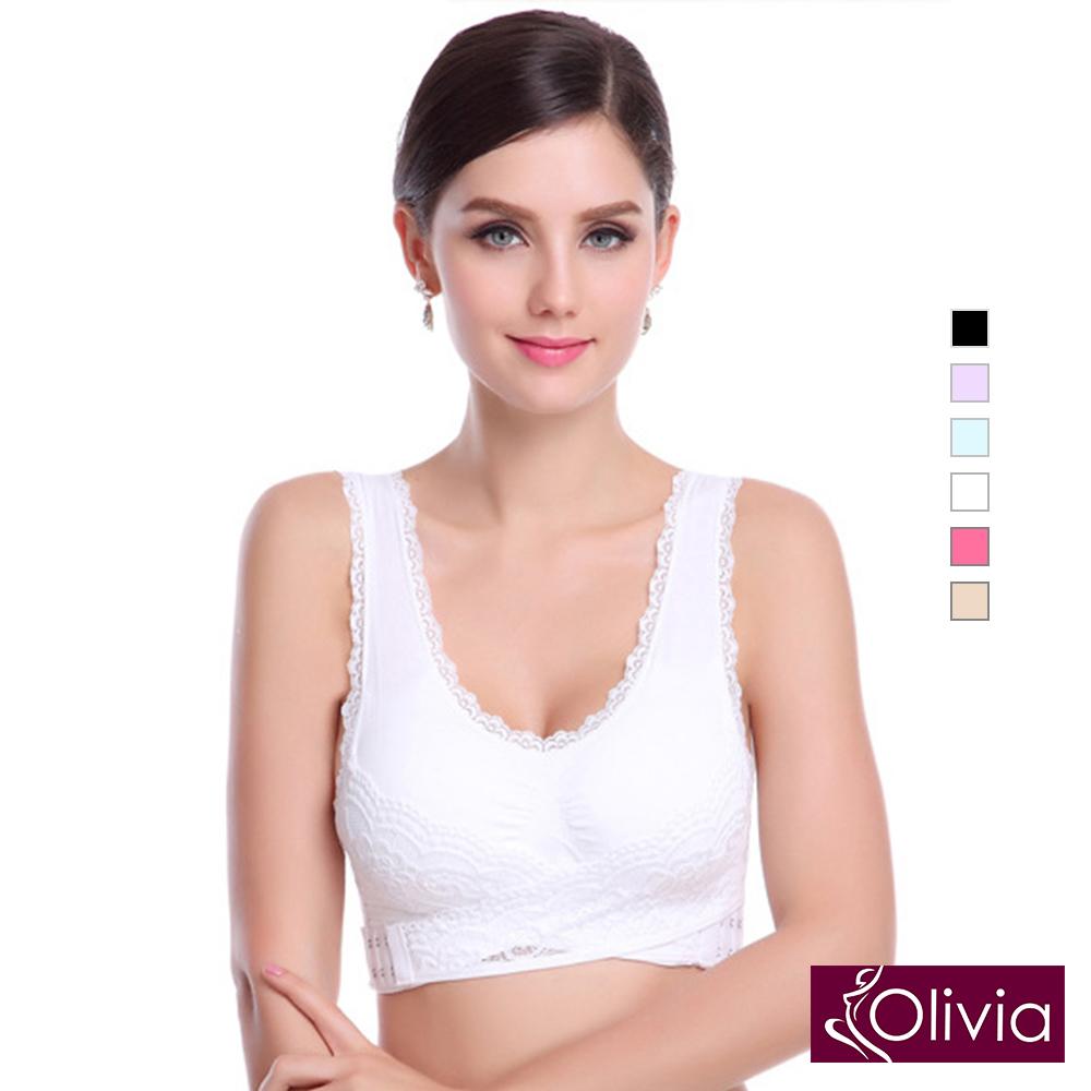 內衣 Olivia 新一代彈力杯杯無鋼圈交叉蕾絲內衣升級版-白色